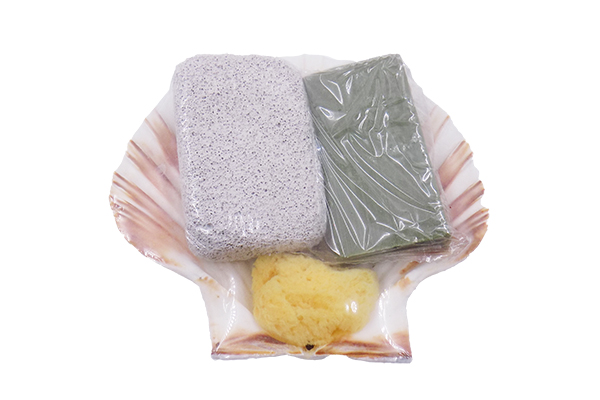Scallop Σετ Ελαφρόπετρα-Σαπούνι-Σφουγγάρι